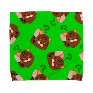 テレコ猫 タオルハンカチ 緑 Towel handkerchiefs