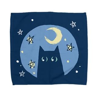 星と猫と月 タオルハンカチ