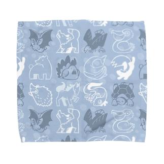 どうぶつタオル-あお Towel handkerchiefs