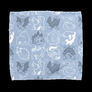 ななめやのどうぶつタオル-あお Towel handkerchiefs