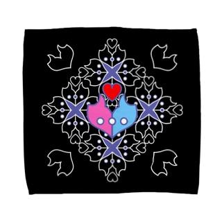 「浪漫花」-ROMANKA-/タオルハンカチ(ブラック) タオルハンカチ