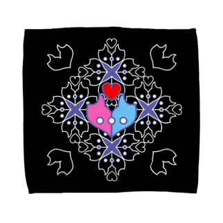 ERIKOERIN ART SHOPの「浪漫花」-ROMANKA-/タオルハンカチ(ブラック)タオルハンカチ
