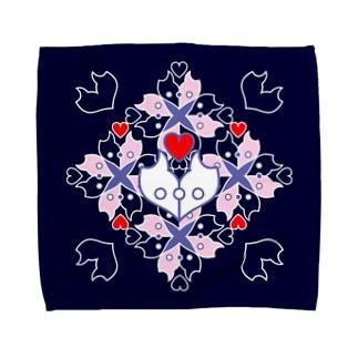 「浪漫花」-ROMANKA-/タオルハンカチ(ネイビー) Towel handkerchiefs