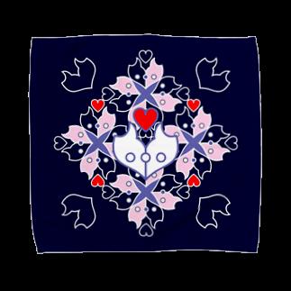 ERIKOERIN ART SHOPの「浪漫花」-ROMANKA-/タオルハンカチ(ネイビー)タオルハンカチ