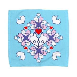 ERIKOERIN ART SHOPの「浪漫花」-ROMANKA-/タオルハンカチ(アクア) Towel handkerchiefs