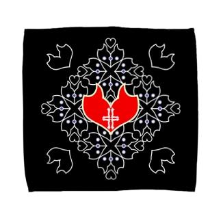 「浪漫花」-QUEEN-/タオルハンカチ(ブラック) タオルハンカチ