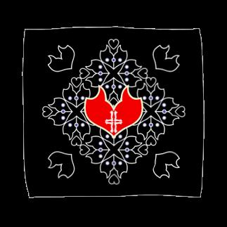 ERIKOERIN ART SHOPの「浪漫花」-QUEEN-/タオルハンカチ(ブラック)タオルハンカチ