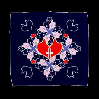 ERIKOERIN ART SHOPの「浪漫花」-QUEEN-/タオルハンカチ(ネイビー) タオルハンカチ