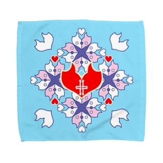 「浪漫花」-QUEEN-/タオルハンカチ(アクア) Towel handkerchiefs