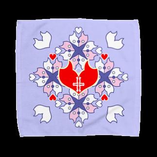 ERIKOERIN ART SHOPの「浪漫花」-QUEEN-/タオルハンカチ(ラベンダー) Towel handkerchiefs