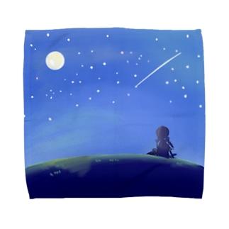 【風景】「夜空を眺める少女」 タオルハンカチ