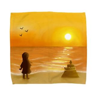海に沈む夕陽【風景】 Towel handkerchiefs
