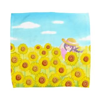 ひまわり畑の女の子【風景】 Towel handkerchiefs