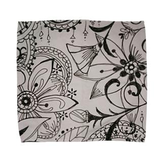 モノクロflower Towel handkerchiefs