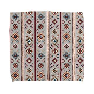 コーカサス絨毯・ストライプ(ホワイト) Towel handkerchiefs