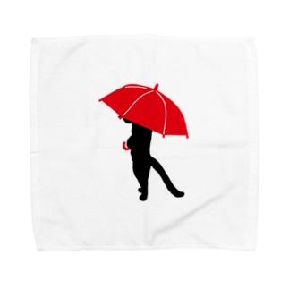 赤い傘ねこさん Towel handkerchiefs