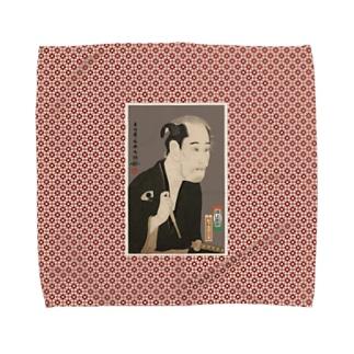 尾上松助の松下造酒之進 タオルハンカチ Towel handkerchiefs