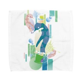 ペンギンTeaTime(ターコイズ) Towel handkerchiefs