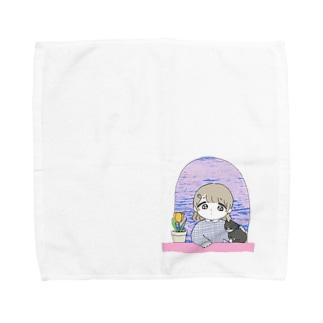 102号室(春) 女の子とねことチューリップ Towel handkerchiefs