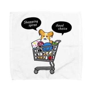 お買い物大好きパピヨンさん Towel handkerchiefs