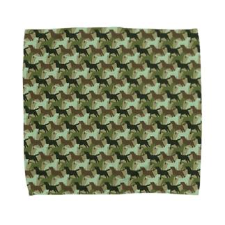 ラブラドール シルエット 迷彩柄 Towel handkerchiefs
