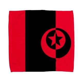黒と赤の月星 Towel Handkerchief