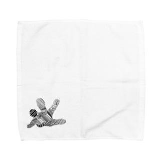 指紋と黒と二重線のまとまり Towel handkerchiefs