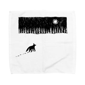 雪原の犬 Towel handkerchiefs