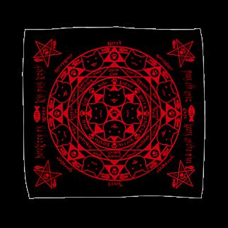 猫召喚魔法陣赤(Lサイズ専用) タオルハンカチ