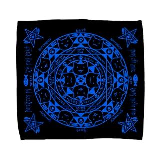 猫召喚魔法陣青(Lサイズ専用) Towel handkerchiefs