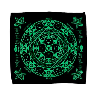 猫召喚魔法陣緑(Lサイズ専用) Towel handkerchiefs