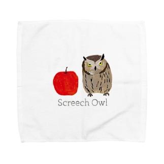 フクロウとリンゴ Towel handkerchiefs