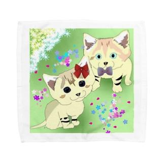 スナネコの兄妹 らいむくん💚らいちちゃん Towel handkerchiefs