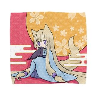 花と烏とみみしっぽ Towel handkerchiefs