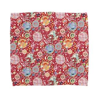 和柄ウミウシ 赤 Towel Handkerchief