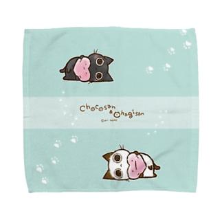 ぽってりちょこさん&おはぎさん。 Towel handkerchiefs
