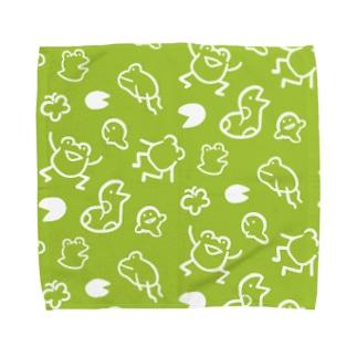 よすの【けこがえる】らくがき みどり Towel handkerchiefs