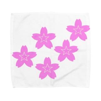 星桜紋(流れ星ピンク) Star cherry blossom Crest (Shooting star pink)) Towel handkerchiefs