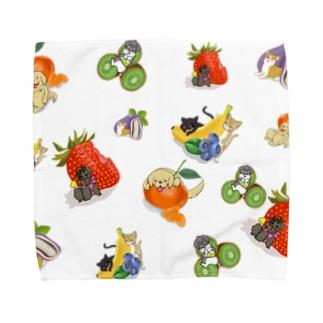 フルーツわんにゃん盛りだくさん Towel handkerchiefs