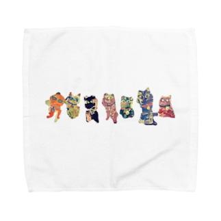 7匹の招き猫レンジャーズ Towel handkerchiefs