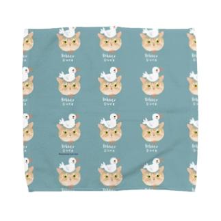 アヒルさんとねこ Towel handkerchiefs