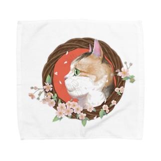 桜と三毛猫  Towel handkerchiefs