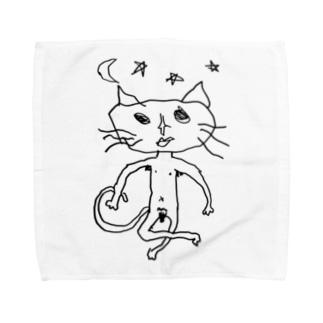 ねこ澤さん(ムーンスター黒) Towel handkerchiefs