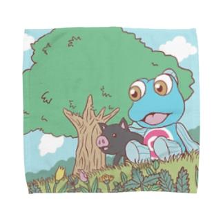 くろぶたさんとガタさんのピクニック Towel handkerchiefs