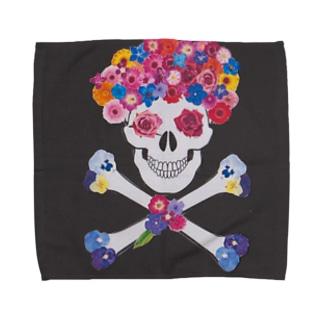 花アフロ(黒) Towel handkerchiefs