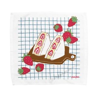 フルーツサンド いちご Towel handkerchiefs