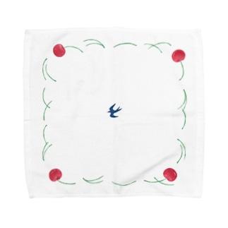さくらんぼ、ツバメ Towel handkerchiefs