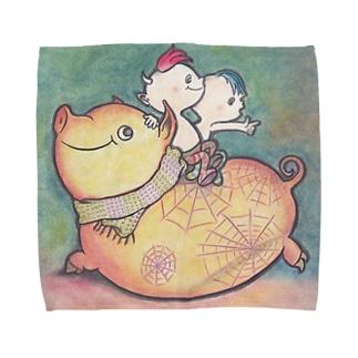 豚さん Towel handkerchiefs