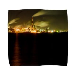 工場夜景3 Towel handkerchiefs