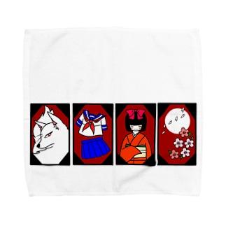 花札モチーフグッズ【改】フルカラーver Towel handkerchiefs